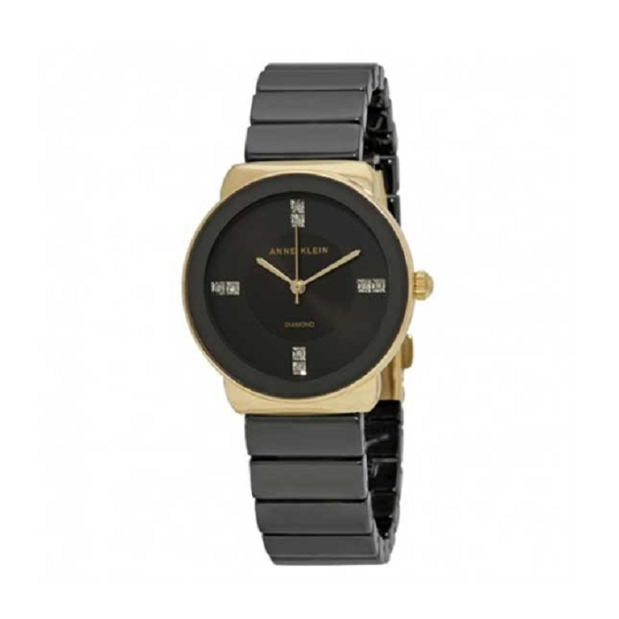 Anne Klein Black Dial Ceramic Ladies Watch
