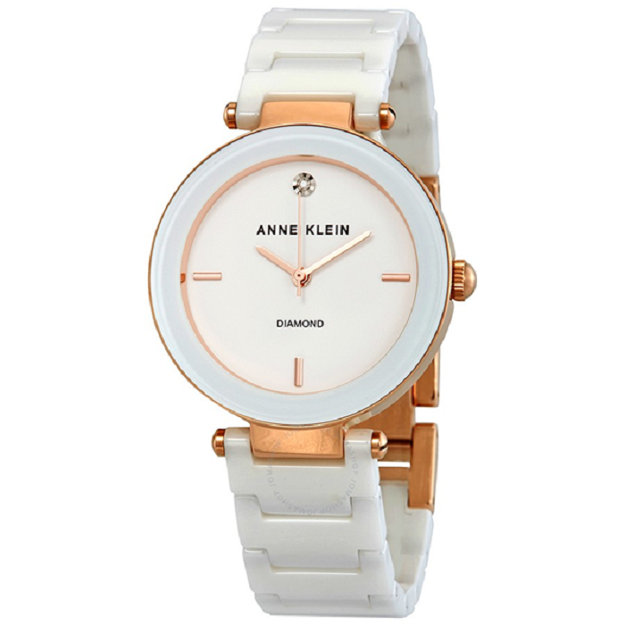 Anne Klein White Dial White Ceramic Ladies Watch